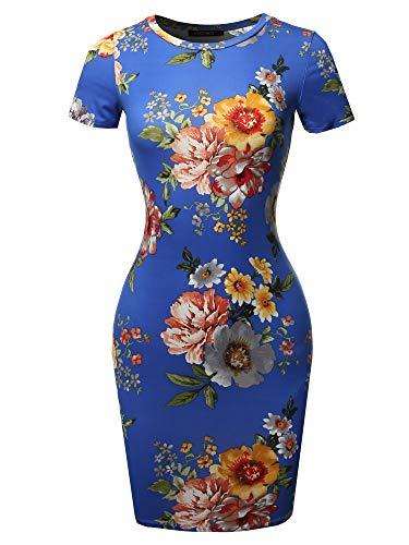 (Casucal Printed Sexy Body-con Mini Dress - Made in USA Blue Yellow S)