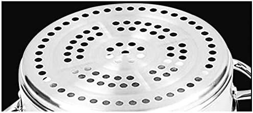 Casserole à Vapeur Vapeur En Acier Inoxydable Multicouche Steamer,Acier inoxydable 304 double fond épaissi 3 couches cuisinière à gaz/cuiseur à induction universel 26cm