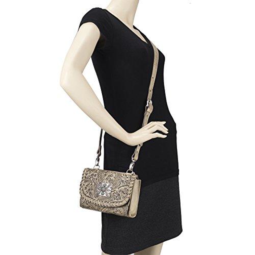 Clutch Sand Light Cross Bag American Body Purse Try Western Leather Wallet Fold Handtooled Bundle qq8OnxF