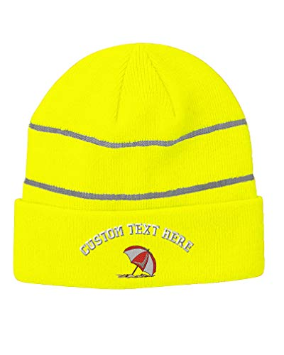 Custom Text Embroidered Beach Umbrella Unisex Adult Acrylic Reflective Stripes Beanie Skully Hat - Neon Yellow, One Size