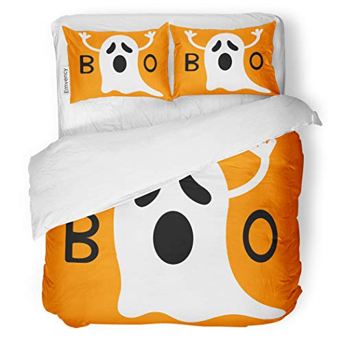 SanChic Duvet Cover Set Happy Halloween Funny Flying Ghost Hands Boo Text Decorative Bedding Set with 2 Pillow Cases Full/Queen Size -