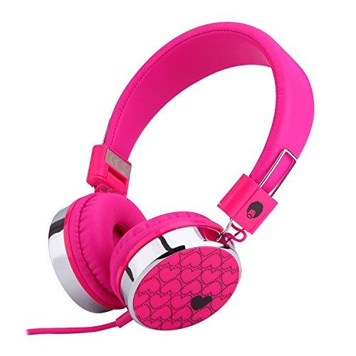 Rockpapa Love Foldable On Ear Headphones Adjustable Headband with 3.5mm Jack, Love Heart Earphones for Kids Children Toddler Teens Age 3-15 Pink
