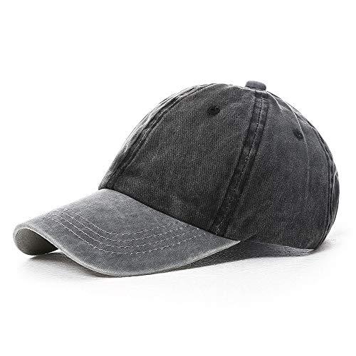 hed Cotton Baseball Cap Dad Hat Pigment Dyed Two Tone Low Profile Adjustable Six Panel Cap Sun Cap Grey Black ()