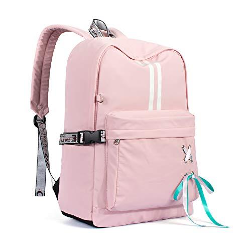 Leaper Laptop Backpack Bookbag School Bag Daypack with USB Charging Port Pink