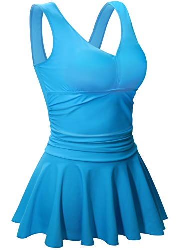 AONTUS Women's Plus Size Swimwear Swimsuits with Skirt Tummy Control One Piece Bathing Suit M Cerulean (Swimsuit Size 10 One Piece)