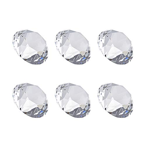 (SHINY HANDLES 6Pcs 40MM(1.57 inch) Clear Crystal Diamond Paperweight Birthstone Table Decorations)