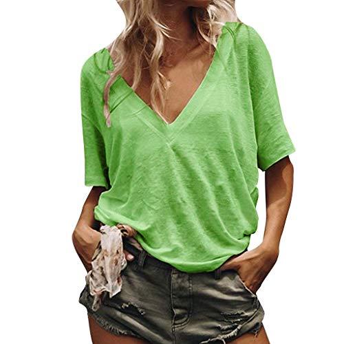Sunhusing Women's Loose Casual Solid Color Sexy Deep V-Neck Short-Sleeved Shirt Summer Joker T-Shirt Green ()