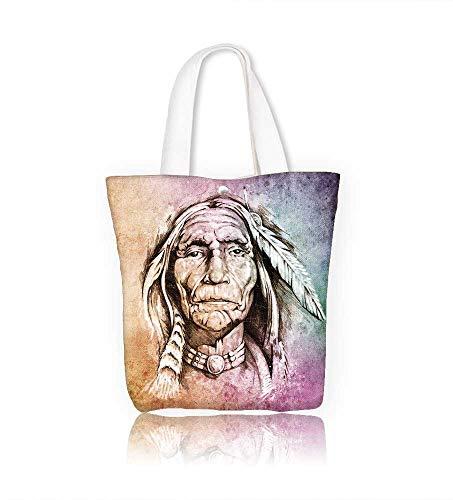 Canvas Zipper Tote Bag Native American Reusable Canvas Zipper Tote Bag Printed 100% Cotton W14xH15.7xD4.7 INCH ()