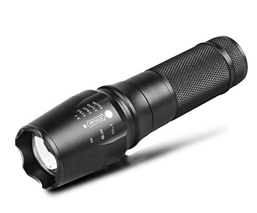 (Happy Go USB Rechargeable tactical flashlight Long battery life 26650 lithium battery Double life P6-T6 LED with optical convex lens 850lm Zoomable 5 lighting modes 6018 aircraft-grade aluminum IPX5 w)