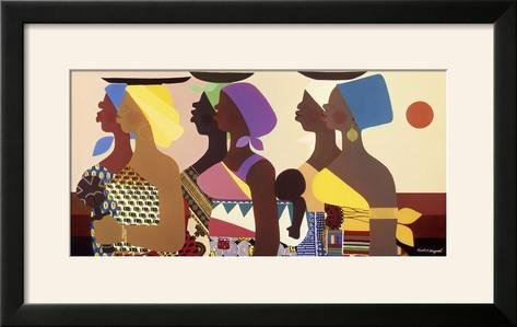 Honeywood Finish (ArtEdge African Women by Varnette Honeywood, Size 27W x 17H, Frame is Wood with a Gesso finish)