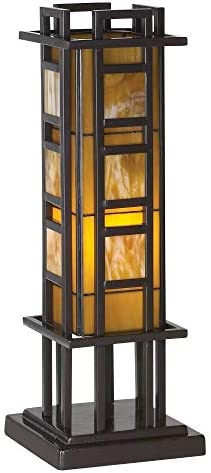 Prairie Mission Antique Accent Table Lamp Bronze Iron Column Amber Stained Glass for Living Room Family Bedroom Office – Robert Louis Tiffany