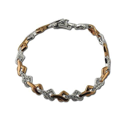 TriJewels Diamond Heart Link Bracelet with Milgrain Work 0.50 ct tw in 10K Yellow Gold