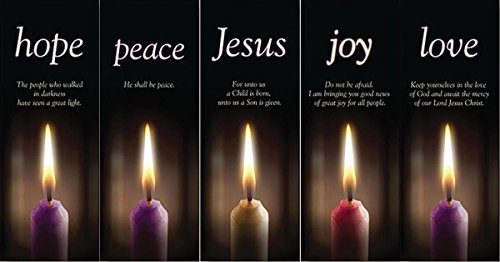 Hope Peace Joy Love and Jesus Advent Banner Set of 5 with X-Stands, 63 Inch by Christmas Advent Set