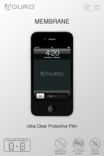 Aduro Membrane Screen Protector for iPhone 4 / 4S Ultra Clear (Invisible)