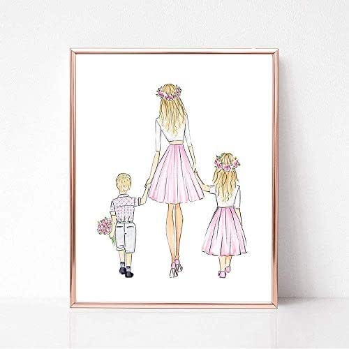 Unframed Customizable Mothers Day, Son, and Daughter Fashion Illustration Art Print