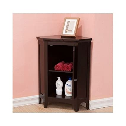 Amazon.com: Corner Floor Storage Cabinet with Shutter Door Bathroom ...
