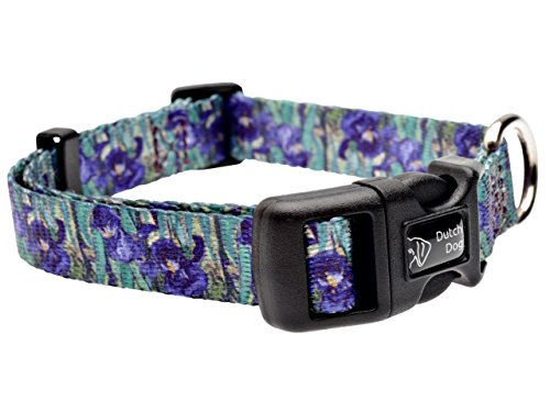 DoggyRide Fashion Dog Collar, 10 by 15-Inch, Van Gogh Irises, Green/Purple
