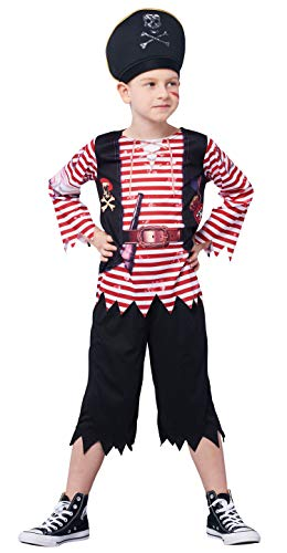 Boys Pirate Costume Set, Skull Crossbones Striped Caribbean Buccaneer Outfit, Captain Jack Pretend Play Suit (4-6Y)]()