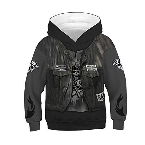 Heymiss Kids Digital Printed Hoodies Fashion Pullover Hooded Sweatshirts 4-13Y Pirate Skull M