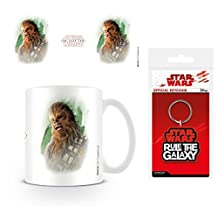 Set: Star Wars, Episode VIII, The Last Jedi Chewacca Brushstroke Photo Coffee Mug (4x3 inches) And 1 Star Wars, Keychain Keyring For Fans (2x2 inches)