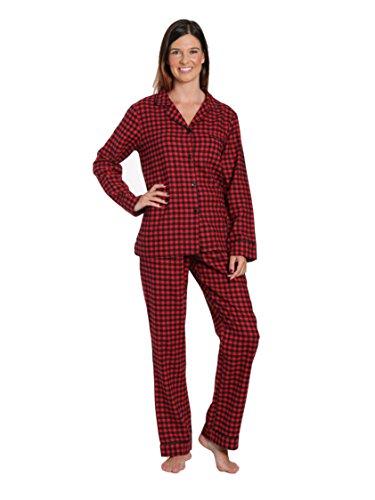 Noble Mount Women's Cotton Flannel Pajama Sleepwear Set - Gingham Red-Black - Large ()