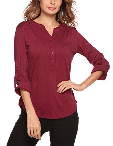Zeagoo Women's Cuffed Sleeve Split Neck T Shirt Slim Fit Blouse Asymmetrical Tops(Wine Red XL)