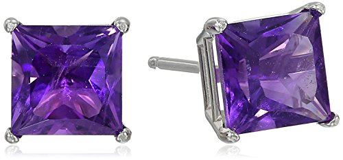 White Gold Princess Cut Gemstone Earrings