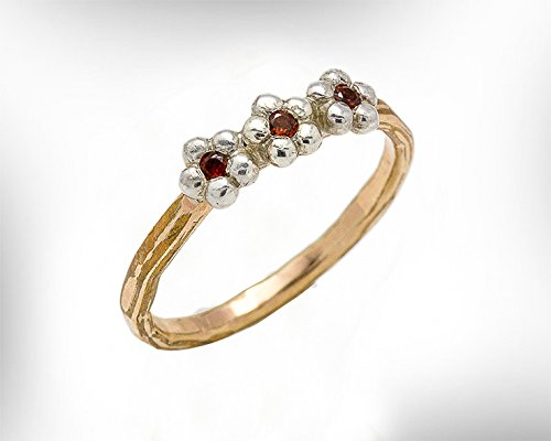 Handmade Women Gemstone Ring, 14k Gold-Filled and Garnet January Birthstone flowers Ring for Her. Customized : Material ,Gemstones and ring size. ()