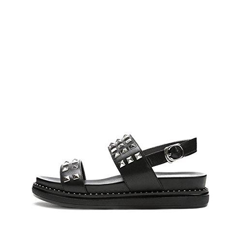 casual Sandali DHG moda 35 tacco basso Tacchi con piatti Pantofole a alti donna estivi Nero alla tacco Sandali da Sandali basso zqxqrAFwd