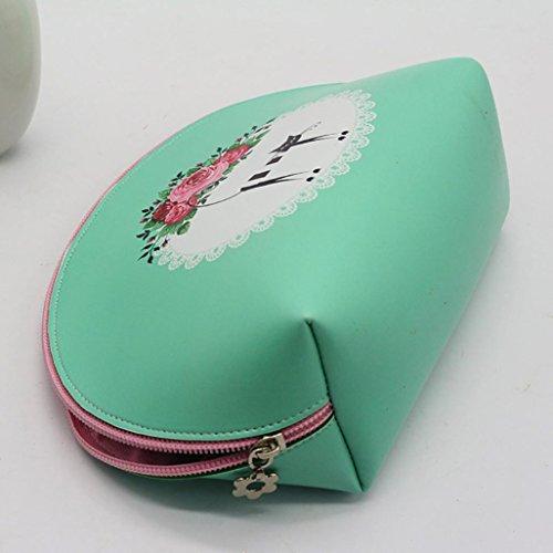 forma per Fiore di trucco borsa a da Impermeabilità e donna semicerchio tela zero gatto Verde borsa a Longra Moda gatto e a1zFqIzZ