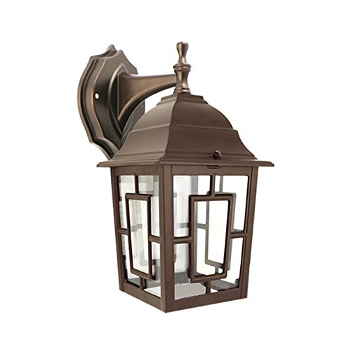 IN HOME One-Light Outdoor Wall Down Lantern Fixture, Bronze Finish Cast Aluminum Housing with Clear Glass Shade, Waterproof Exterior Wall Lamp Light for Front Porch, Yard, Garage, ETL Listed