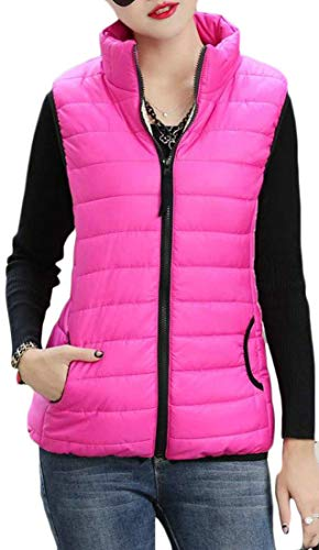 Red Stand Puffer Down Womens Vest H Rose Vest Warm Collar Pure amp;E Quilted Color Zipper wfwgX6q