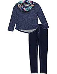 Kensie Girls' Off the Shoulder Sweater with Infinity Scarf and Stretch Denim Jean