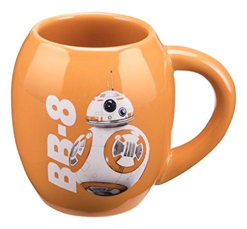 (Vandor 55100 Star Wars: The Force Awakens BB-8 18 Ounce Oval Ceramic Mug, Orange)