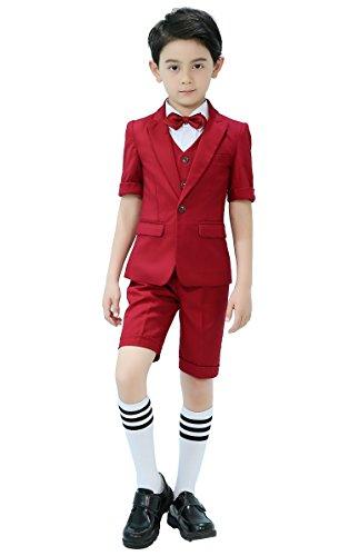 Iyan Boys Short Suit 5 Piece Slim Fit Suit for Boys Burgundy Size 7 ()