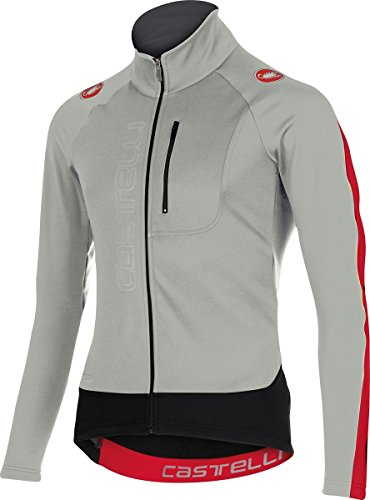 Castelli Trasparente 3 Wind Full-Zip Jersey – Long Sleeve – Men's Luna Grey/Red, M