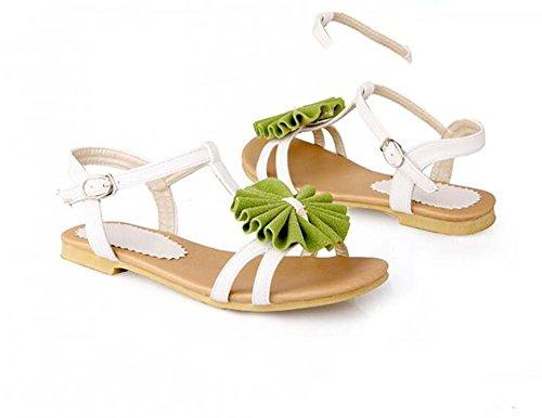 Zapatos de Flores de Las Mujeres Sandalias Planas Cómodas Zapatos PU Verde/Púrpura/Rojo Talla 34-39 Verde