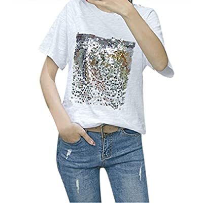 Franterd Women's Summer Casual Bling Bling Sequin Short Sleeve White Loose Beach T-Shirt O-Neck Tops for Jeans