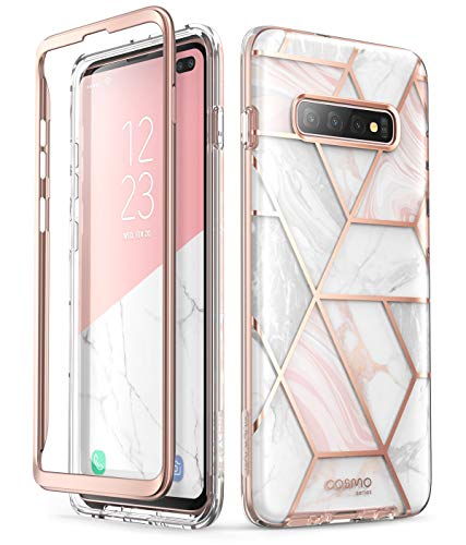 i-Blason Cosmo Series Case for Samsung Galaxy S10+ Plus, Stylish Glitter Protective Bumper Case Without Built-in Screen Protector (Marble)