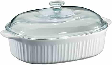 Corningware French White 4 Quart Oval Casserole W/ Glass Cover