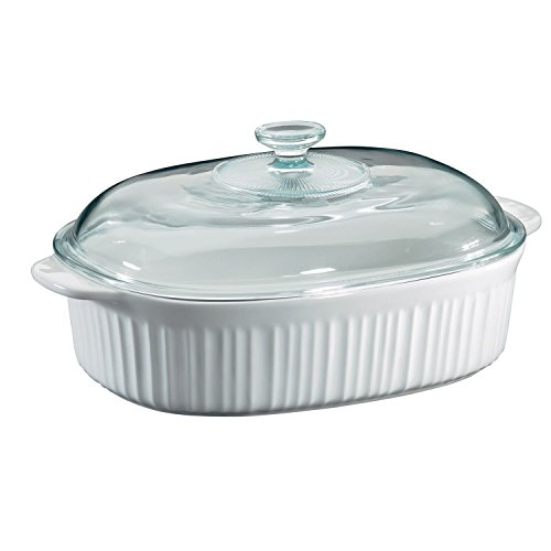 CorningWare 6002278 French White 4 Quart Oval Casserole W/Glass Cover 4 Qt Stainless Covered Casserole