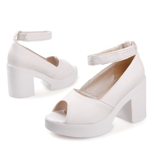 VogueZone009 Womens Open Peep Toe High Heel Platform Chunky Heels Micro Fiber Soft Material Solid Sandals White LRRb1