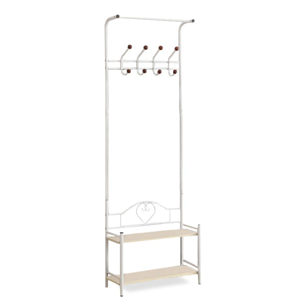 Yaker s collection Coat Rack, Easy Assembly Hall Tree White with 8 Hooks 2-Tier Shoe Shelf, Standing Coat Racks with 4 Adjustable Feet, Entry Hall Tree with Stable Carbon Steel for Coat, Shoe White