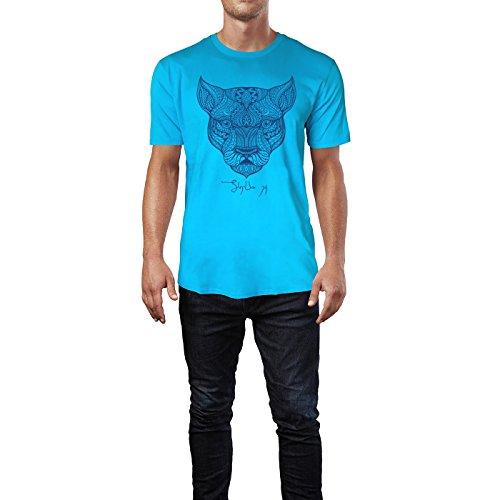 SINUS ART ® Kopf einer Löwin im Ethno Stil Herren T-Shirts in Karibik blau Cooles Fun Shirt mit tollen Aufdruck