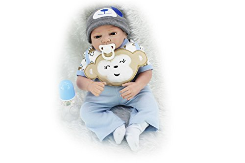 SanyDoll Reborn Baby Doll Soft Silicone 22inch 55cm Magnetic Lovely Lifelike Cute Lovely Baby Blue monkey suit