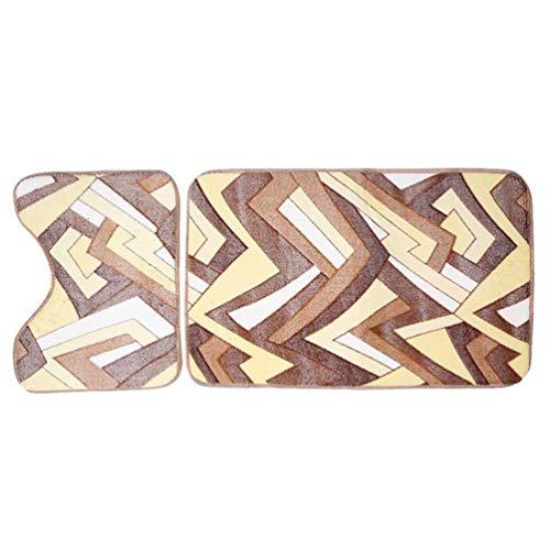 2 Pcs/Set Bathroom Carpet Thicken Coral Fleece U-Shaped Mat Rectangular Mat Absorbent Washable Soft Toilet Carpet Puzzle -