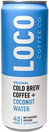 Loco Coffee Cold Brew Coffee + Coconut Water (12 12 fl. oz. cans)   Loco Coffee   Gluten & Dairy Free   Clean Energy & Low Acidity   No Added Sugar   Caffeine+Electrolytes   No Refrigeration Required