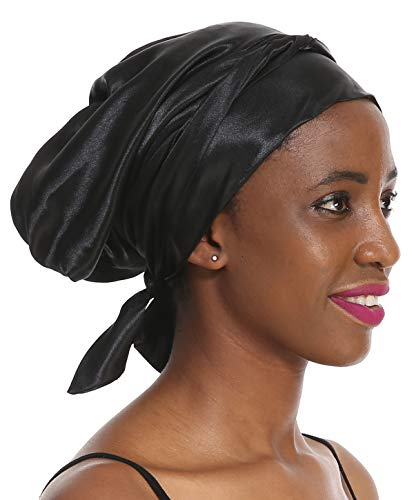 Hair Scarf Sleeping Cap Hat - Black Women Drawstring Salon Soft Satin Patient Sleep Slouch Slouchy for Summer Silk Hair Scarf for Long Curly Natural