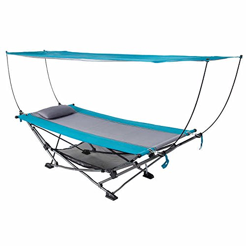 Foldable Steel Frame Hammock with Removable Sun Protectio...