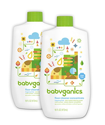 Babyganics Floor Cleaner Concentrate, Fragrance Free, 16-oz (Pack of 2), Packaging May Vary Concentrate Fragrance